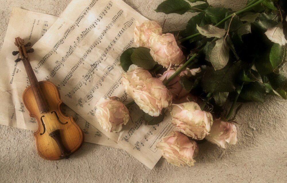 楽譜とバラとバイオリン